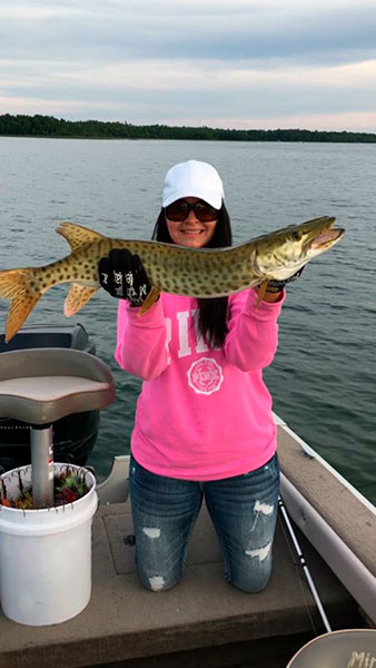 Emily first Musky caught on a Purple-Pink MiniBoss.